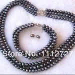 New <b>Accessory</b> Crafts Beads 3Rows 7-8mm Black Pearl Necklace Bracelet Earrings DIY <b>Jewelry</b> Making Girls Women Gifts DIY Wholesale
