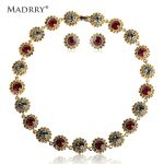 Madrry Alloy Metal Elegant Round Rhinestone <b>Jewelry</b> Sets Necklace & Earrings For Women Bridal Wedding <b>Accessories</b> Bijuterias