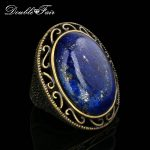 Semi-precious Stone Lapis Lazuli Ring <b>Antique</b> Gold/Silver Color Fashion Brand Vintage <b>Jewelry</b> Rings For Women Wholesale DFR390M