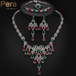 Pera Noble Design Big Flower Drop 4 Piece Nigerian Women Party <b>Accessories</b> <b>Jewelry</b> Set With Green And Red Cubic Zirconia J151