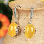 925 Sterling Silver Semi Mount Women Chandelier Drop Earrings Fine <b>Jewelry</b> Setting 10x13mm Oval Cabochon <b>Art</b> <b>Deco</b>
