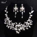 Miallo Fashion Handmade Austrian Crystal Bridal <b>Jewelry</b> Sets Women Pearls Necklace Earrings Set Bride Wedding Dress <b>Accessories</b>