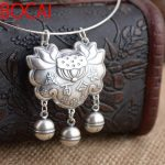 Deer King <b>jewelry</b> wholesale silver S990 fine silver lotus pendant <b>antique</b> style longevity lock