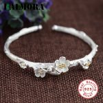 BALMORA Authentic 925 Sterling Silver <b>Jewelry</b> Retro Flower Open Bangles for Women Bracelets <b>Accessories</b> Gifts Bijoux SY50248