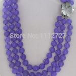 <b>Accessory</b> Crafts 3rows Kunzite Chalcedony 8mm Purple Round Beads Necklace Shell Flower <b>Jewelry</b> Stone Wholesale Fitting Female