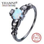 YHAMNI Black Rings Set Magical Rainbow Opal Stone Black Gold Rings <b>Antique</b> <b>Jewelry</b> White CZ Fashion Rings for Women YR0084