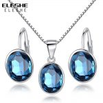 ELESHE Bridal Wedding <b>Jewelry</b> Set for Women Earrings Necklace 925 Silver <b>Jewelry</b> Sets with Blue Crystal Stones <b>Accessories</b>