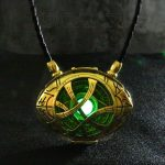 7cm*5.5cm Doctor Strange Necklace Glow in Dark Eye Shape <b>Antique</b> Bronze Pendant with Leather Cord Movie Costume Cosplay <b>Jewelry</b>