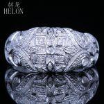 HELON Solid 14k White Gold <b>Art</b> <b>Deco</b> Vintage Antique Genuine Natural Diamonds Engagement Wedding Halo Trendy Fine <b>Jewelry</b> Ring