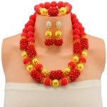 New Arrival Bridal Wedding <b>Jewelry</b> Sets Dubai Italy Gold-color Ball Necklaces Red African Beaded <b>Jewelry</b> Set <b>Accessories</b>