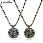 Sauvoo Link Chain Men Necklace Basketball <b>Antique</b> Silver Pendants Balls Necklace for Male Punk <b>Jewelry</b> Accessories Gifts