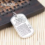 BALMORA 100% Pure 999 Silver <b>Jewelry</b> Lotus & Buddhistic Sutra Charms Pendants for Necklaces Women Men <b>Accessories</b> Gift SY11437