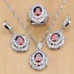 Red CZ White Zircon 925 Sterling Silver Bridal Jewellry Sets For Women Wedding <b>Accessories</b> Earrings/Pendant/Necklace/Rings