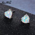 JUNXIN Blue/White Fire Opal Heart Stud Earrings Small Bohemian Double Earrings For Women 925 Silver Filled <b>Jewelry</b> <b>Accessories</b>