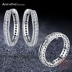ANFASNI New Arrival 100% 925 Sterling Silver Sets Eternity Earrings Ring With Clear CZ For Women <b>Jewelry</b> Sets <b>Accessories</b> SST35