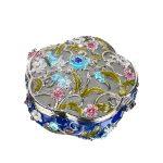 1.9inch Women Metal Round <b>Antique</b> Flower Wedding Trinket Box Ring <b>Jewelry</b> Box Storage Wedding <b>Jewelry</b> Case Souvenirs Gift Crafts
