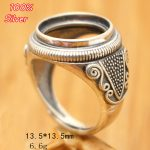 100% 925 Sterling Silver Adjustable Ring Blank Tary Round Fit 13.5MM Setting Tray Bead <b>Antique</b> Silver