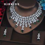 HIBRIDE New Design Clear Brilliant Green Water Drop Cubic Zirconia Women <b>Jewelry</b> Sets Wedding Bride Dress <b>Accessories</b> N-360