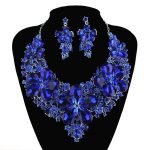 New Arrival Royal Blue color statement necklace sets For bridal wedding <b>jewelry</b> earrings party flower Dress <b>Accessories</b>