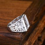 <b>Art</b> <b>Deco</b> 13x16mm Princess Cabochon Semi Mount 925 Sterling Silver Men Ring White Gold Color Fine <b>Jewelry</b> Setting Filligree