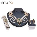AYAYOO Simulated Pearl <b>Jewelry</b> Sets For Women Imitation Crystal Wedding Gold Color Necklace Earrings Bracelet Rings <b>Accessories</b>