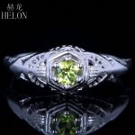 HELON Solid 14K /585 White Gold 4mm Round Cut 100% Genuine Peridot Engagement Wedding Antique Vintage <b>Art</b> <b>Deco</b> Fine <b>Jewelry</b> Ring