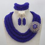 Royal Blue Beads Jewellery Set for Wedding Trendy African Beads <b>Jewelry</b> Set Costume <b>Accessories</b> Neclace Free Shipping WD730