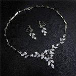 Dower me Charming Zircon Women Dinner Prom <b>Jewelry</b> Set Wedding <b>Accessories</b> Bridal Silver Necklace Earrings Set
