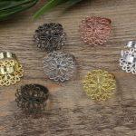 100pc Cabochon 23mm Flower Pad ring blank Cameo Tray,<b>Antique</b> Bronze/Gold/Silver Ring setting,Handmade DIY Zakka <b>jewelry</b> Finding