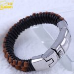 Kalen Homme Black & Brown Leather Bracelets 316 Stainless Steel Button Clasp Men's Bracelet <b>Accessory</b> <b>jewelry</b> From China Market