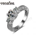 Vecalon <b>Antique</b> <b>Jewelry</b> Three-stone AAAAA Zircon Cz 14KT White Gold Filled Engagement Wedding band Ring for Women Sz 5-11