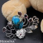 HERMOSA <b>jewelry</b> NEW Garnet Amethys t Jasper925 sterling silver wedding party <b>accessories</b> Brooch HF2012