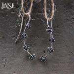 JINSE S925 Pure Silver <b>Jewelry</b> Luxury Vintage <b>Antique</b> Silver Four Flowers Pendants Drop Dangle Earrings For Women 4.50mm