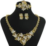 Elegant Royal Princess Butterfly Necklace Fashion Crystal Gold <b>Jewelry</b> Set African Wedding Party <b>Accessories</b> Christmas Gift