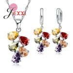JEXXI Wedding Bridal <b>Jewelry</b> Sets For Women Multicolored Water Drop Cubic Zircon Necklace Earrings Set Engagement <b>Accessory</b>