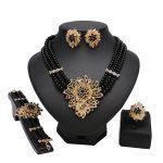 wholesale dubai black Bead -color <b>jewelry</b> sets Crystal Wedding Women Bridal <b>Accessories</b> Fashion <b>jewelry</b> sets for Lady Party