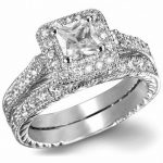 Brand <b>Antique</b> <b>Jewelry</b> Lovers Gem 5A Zircon stone 10KT White Gold Filled Engagement Wedding Band Ring Set US Size 5-11 Gift