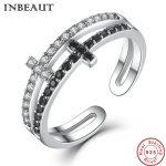 INBEAUT <b>Antique</b> <b>Jewelry</b> Women 925 Sterling Silver White&Black Zircon Double Cross Ring Female Vintage Adjustable Wedding Rings