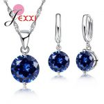 YAAMELI Genuine 925 Sterling Silver 8 Color Charm <b>Jewelry</b> Sets Cubic Zircon Pendant Set Anniversary Earring Necklace <b>Accessories</b>