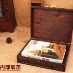 Retro <b>Antique</b> Decorative Gift Box double belt Wood Desktop Storage Box Wooden <b>Jewelry</b> Storage Organizer Copper Nails Home Decor