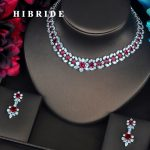 HIBRIDE Luxury Garland Shape Red CZ <b>Jewelry</b> Sets For Women Bride Necklace Set Wedding <b>Jewelry</b> Dress <b>Accessories</b> Wholesale N-404