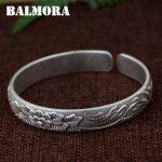 BALMORA 990 Pure Silver Flower Open Bangles for Women Mother Gift about 18cm Retro Bracelet <b>Jewelry</b> Pulsera <b>Accessories</b> SZ0492