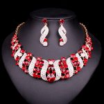 NEW Red Crystal Choker Necklace Earrings Bridal Indian <b>Jewelry</b> Sets Bride Gold Color jewellery Wedding Prom <b>Accessories</b> Women