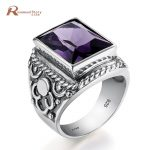 Luxury Gothic Purple Stone Statement Ring For Women Men <b>Antique</b> Wedding Party Ring 925 Sterling Silver <b>Jewelry</b> Office/career