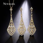 NEWBARK Retro <b>Jewelry</b> Set Gold Color With CZ Stone Crystal Female Love Long Earrings And Necklace Bridal Bijoux <b>Accessories</b>