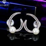 CC earrings for women romantic elegant pageant sweet style pearl shine cz wedding <b>accessories</b> bridal engagement <b>jewelry</b> E0159