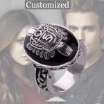 Customized The Vampire Diaries Stefan Ring A to Z Damon Salvatore Sun Protectation <b>Antique</b> Silver Ring for Men Punk Ring <b>Jewelry</b>