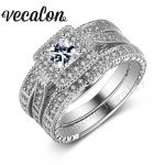 Vecalon <b>Antique</b> <b>Jewelry</b> 3-in-1 Wedding Band Ring Set for Women 2ct AAAAA Zircon Cz 10KT White Gold Filled Engagement ring