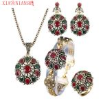 XIAONIANSHI 4 Pcs/Set Vintage Women Flower <b>Antique</b> Gold Color Turkish Resin <b>Jewelry</b> Necklace Arabia Bridal Wedding <b>Jewelry</b> 2017