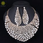 Fashion Bridal <b>Jewelry</b> Sets Wedding Necklace Earring For Brides Party <b>Accessories</b> Gold Color Crystal Indian Women Decoration